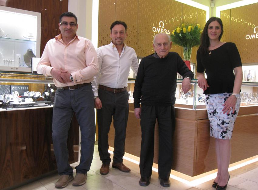 The people behind Bijouterie Dominic, from left to right: Michael Fiorilli, Marco Cantiani, Vittorio Cantiani, and Francine Funaro