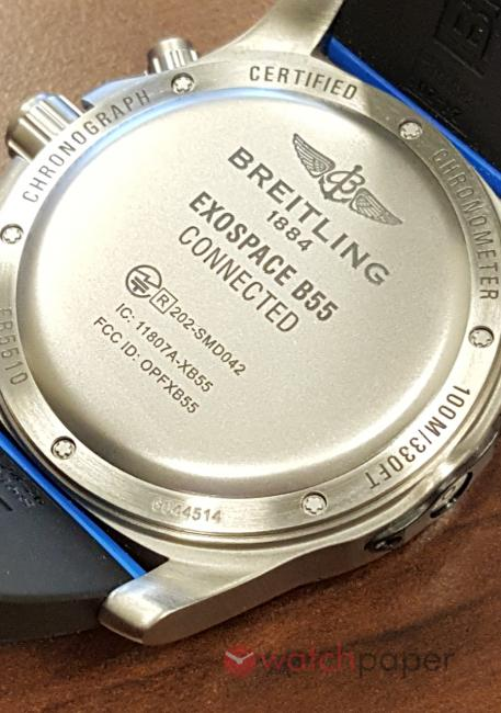 The back of the breitling Exospace B55