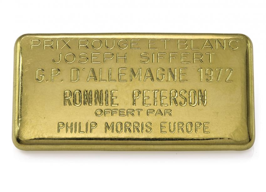 Gold ingot commemorating the Prix Rouge et Blanc Joseph Siffert