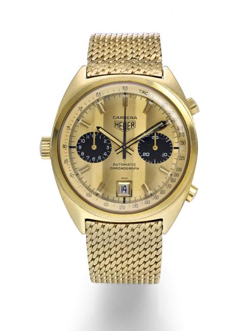 "18k gold Heuer Carrera Calibre 12 Manufacture — ""the racing car driver's watch"""