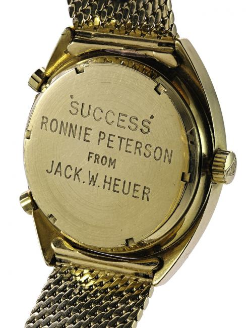 "The back of ""the racing car driver's watch"" with a message from Jack Heuer"