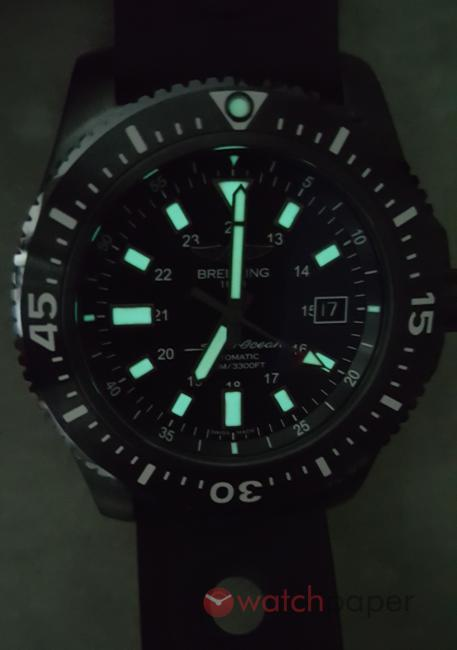 Letting the Breitling Superocean 44 Special shine in the dark.