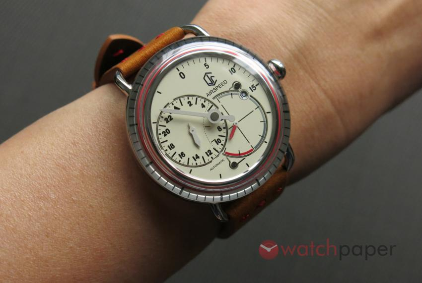 CJR Watches Airspeed Vintage on her wrist