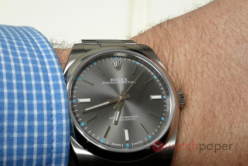 Rolex Oyster Perpetual 39mm with dark rhodium dial