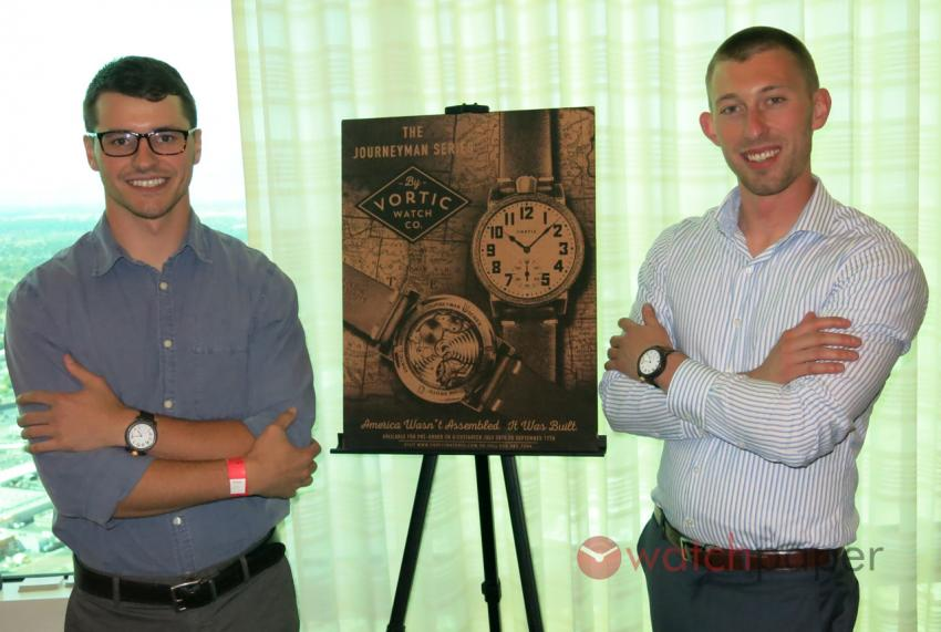 Vortic Watch founders Tyler Wolfe and R.T. Custer at the World Watch Market