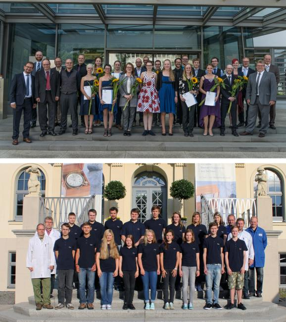 "Top: The 2016 graduates of the ""Alfred Helwig"" School of Watchmaking with school staff. Bottom: August 1, 2016 The first days of school for the new cohort of watchmaker and toolmaker apprentices."