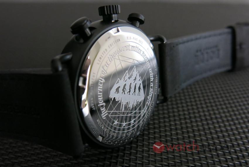 The engraved back of the BOLDR Journey Chronograph