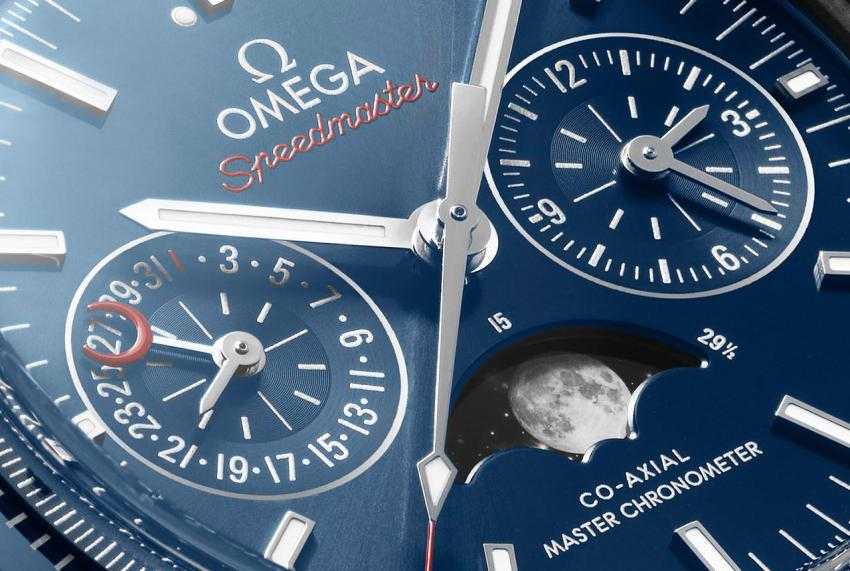 A closer look at the dial of the Omega Speedmaster Moonphase Co-Axial Master Chronometer Chronograph