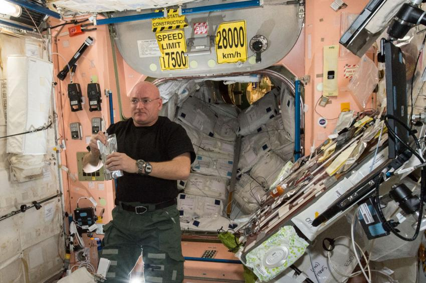 NASA astronaut Scott Kelly  inside the Unity module of the ISS