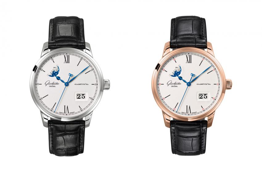 The two flavours of the Glashütte Original Senator Excellence Panorama Date Moon Phase: stainless steel (Ref. 1-36-04-01-02-01) and red gold (Ref. 1-36-04-02-05-01).