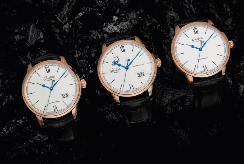 The rose gold Glashütte Original Senator Excellence collection: Senator Excellence Panorama Date (Ref. 1-36-03-02-05-01), Senator Excellence Panorama Date Moon Phase (Ref. 1-36-04-02-05-01), and Senator Excellence (Ref. 1-36-59-02-05-01)