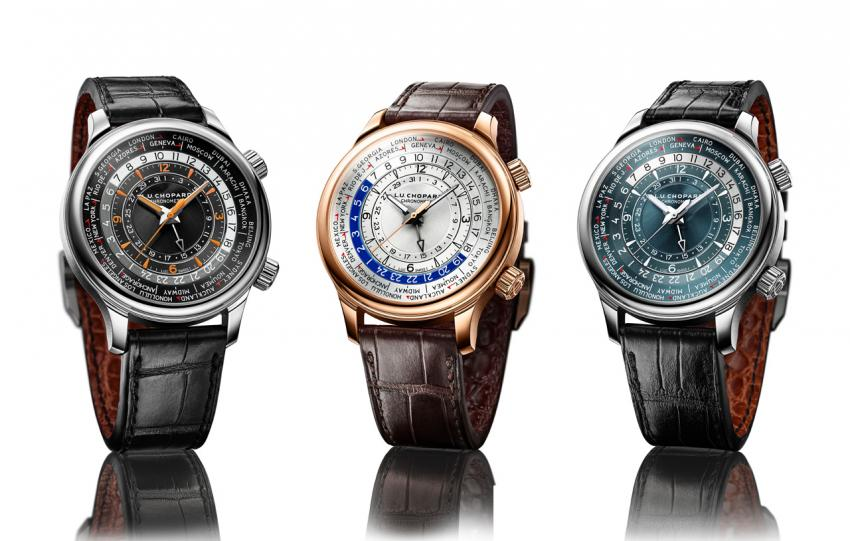 The Chopard L.U.C Time Travel One collection: Ref. 168574-3001 – in stainless steel; Ref. 161942-5001 – in 18-carat rose gold; and Ref. 161942-9001 – in platinum