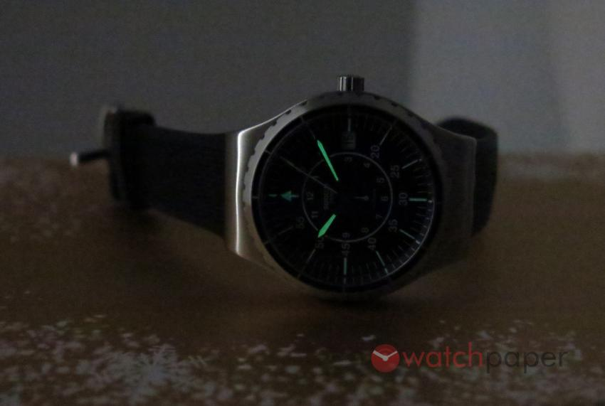 A lume-shot of the Swatch Sistem51 Irony
