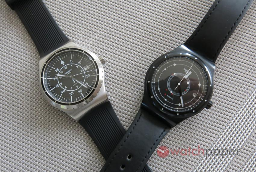 The new Swatch Sistem51 Irony and the first generation Sistem51.