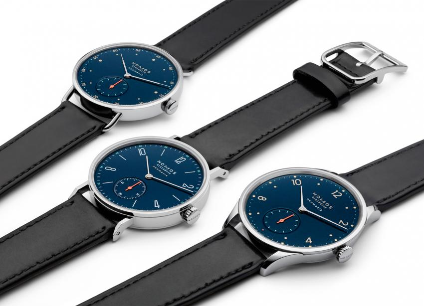 Three pieces from the new NOMOS Neomatik Nachtblau collection: Tangente, Metro and Minimatik