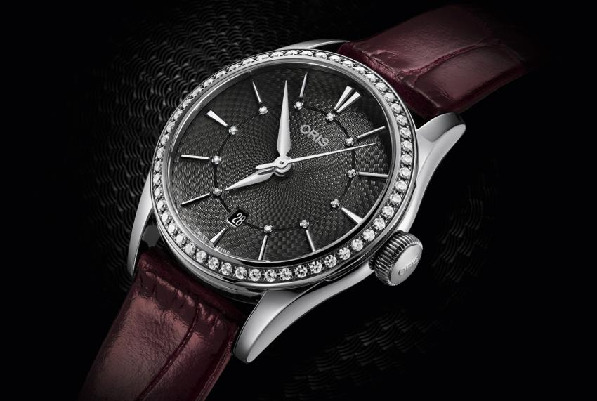 Oris Artelier Date Diamonds (28 mm) with 52 diamonds set into the bezel and a further 11 diamonds on the dial.