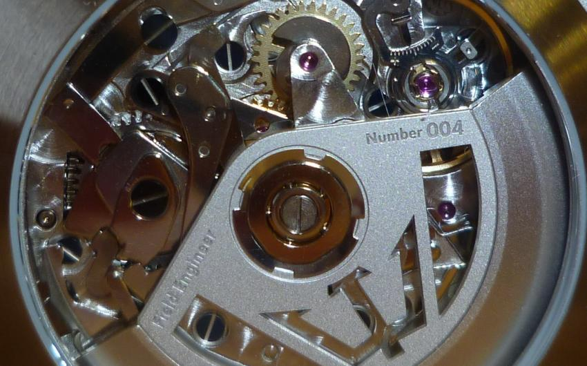 The see-through back of the Classic Chronograph Field Engineer