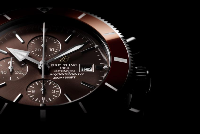A closer look at the dial of the bronze-coloured Breitling Superocean Héritage II Chronograph 46