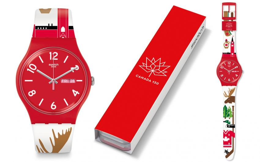 Swatch created a special edition model to celebrate the 150th anniversary of Canada, the Backup Red (SUOR705K)