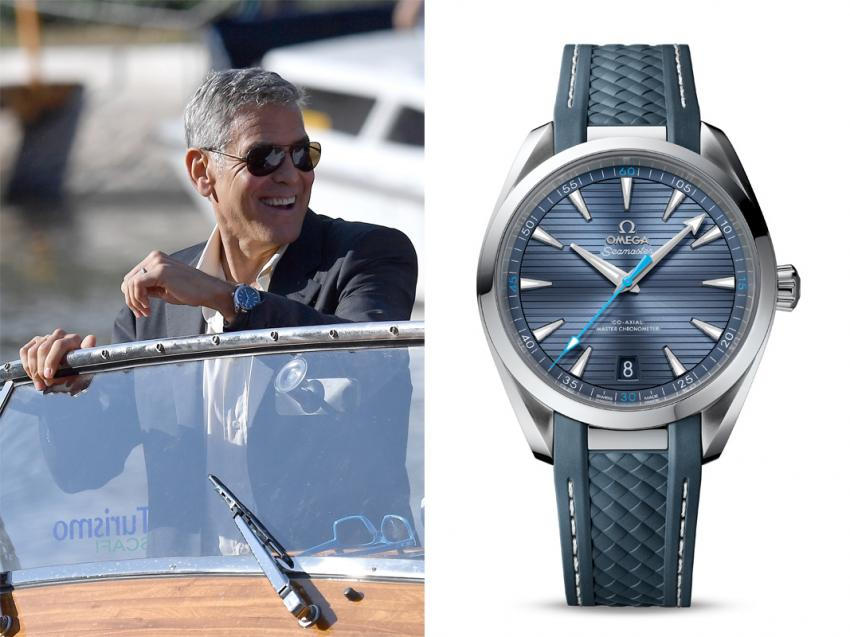 George Clooney spotted wearing an OMEGA Seamaster Aqua Terra watch in Venice