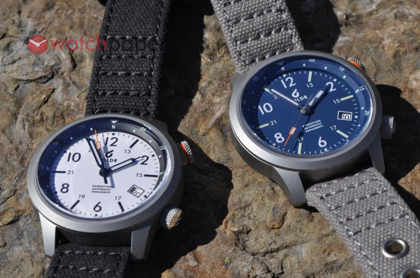 Boldr Expedition Eiger (white dial and black bezel) and Everest (blue dial and bezel)