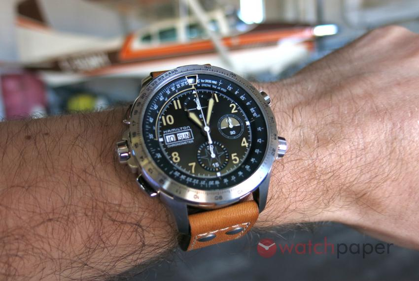 With the Hamilton Khaki X-Wind Day Date Chrono at the Buttonville Airport