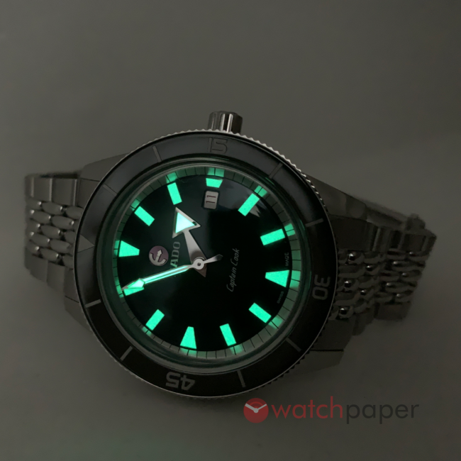 Rado Tradition Captain Cook 42 mm with lume shining