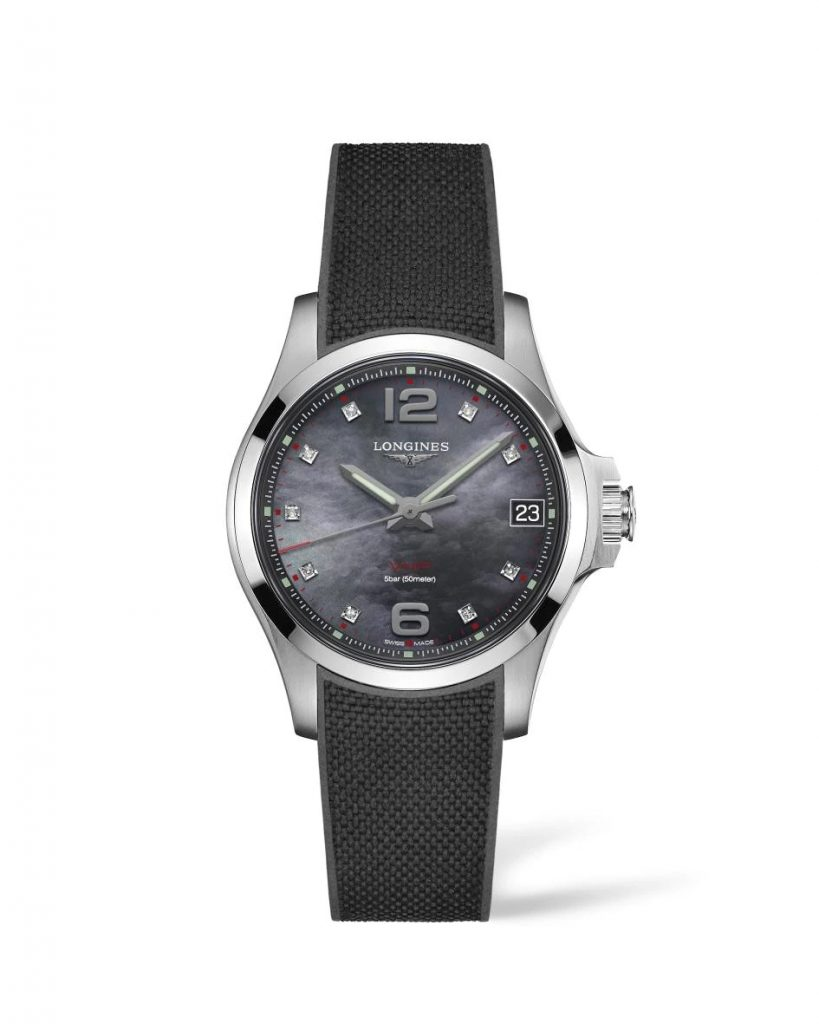 Longines Conquest V.H.P. 36 mm black mother of pearl dial
