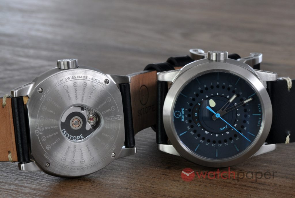 ISOTOPE GMT 0º dial and back side.